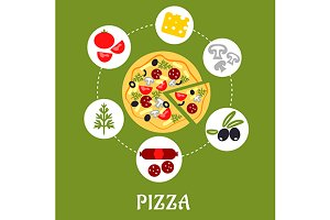 Flat pizza infographic with ingredie