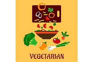 Healthy vegetarian cuisine flat conc