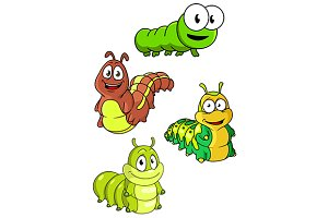 Cute colorful cartoon caterpillars