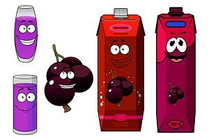 Happy cartoon currant  fruit and jui