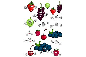 Healthy berries and fruits character