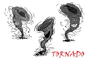 Nasty cartoon tornado, hurricane and