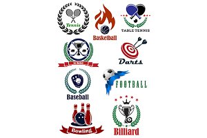 Set of sports tournament emblems