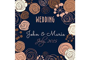 Wedding invitation template with flo