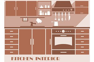 Kitchen interior flat design in brow