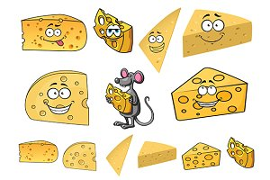 Wedges of happy cartoon cheese