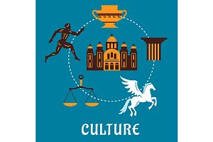 Culture Greece concept with flatl ic