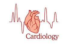 Cardiology concept with an ECG and h