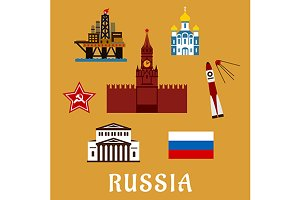 Russian flat travel icons and symbol