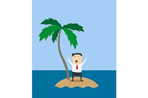 Businessman marooned on a tropical i