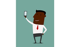 Cartoon african american businessman