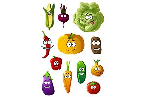 Colorful vegetables characters with