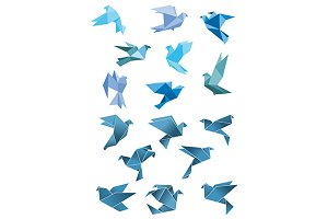 Origami stylized doves and pigeons