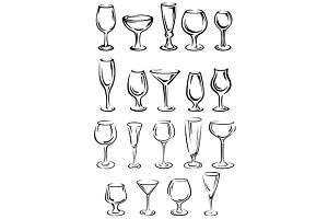 Doodle glassware and dishware sketch