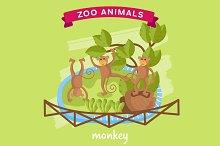 Vector Zoo Animal, Monkey