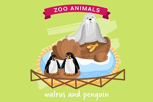 Zoo Animal, Walrus and Penguin