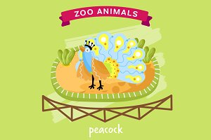 Vector Zoo Animal, Peacock