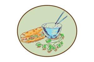 Bánh Mì Sandwich and Rice Bowl Drawi