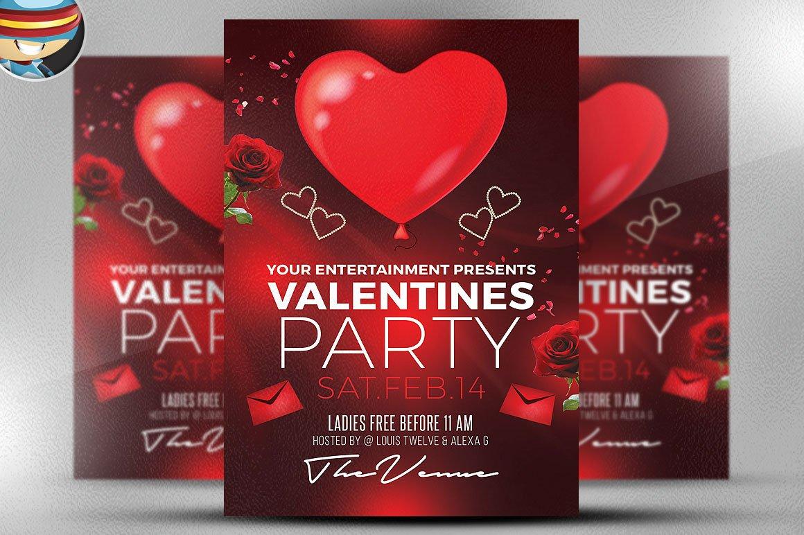 valentine s day flyer template flyer templates creative market. Black Bedroom Furniture Sets. Home Design Ideas