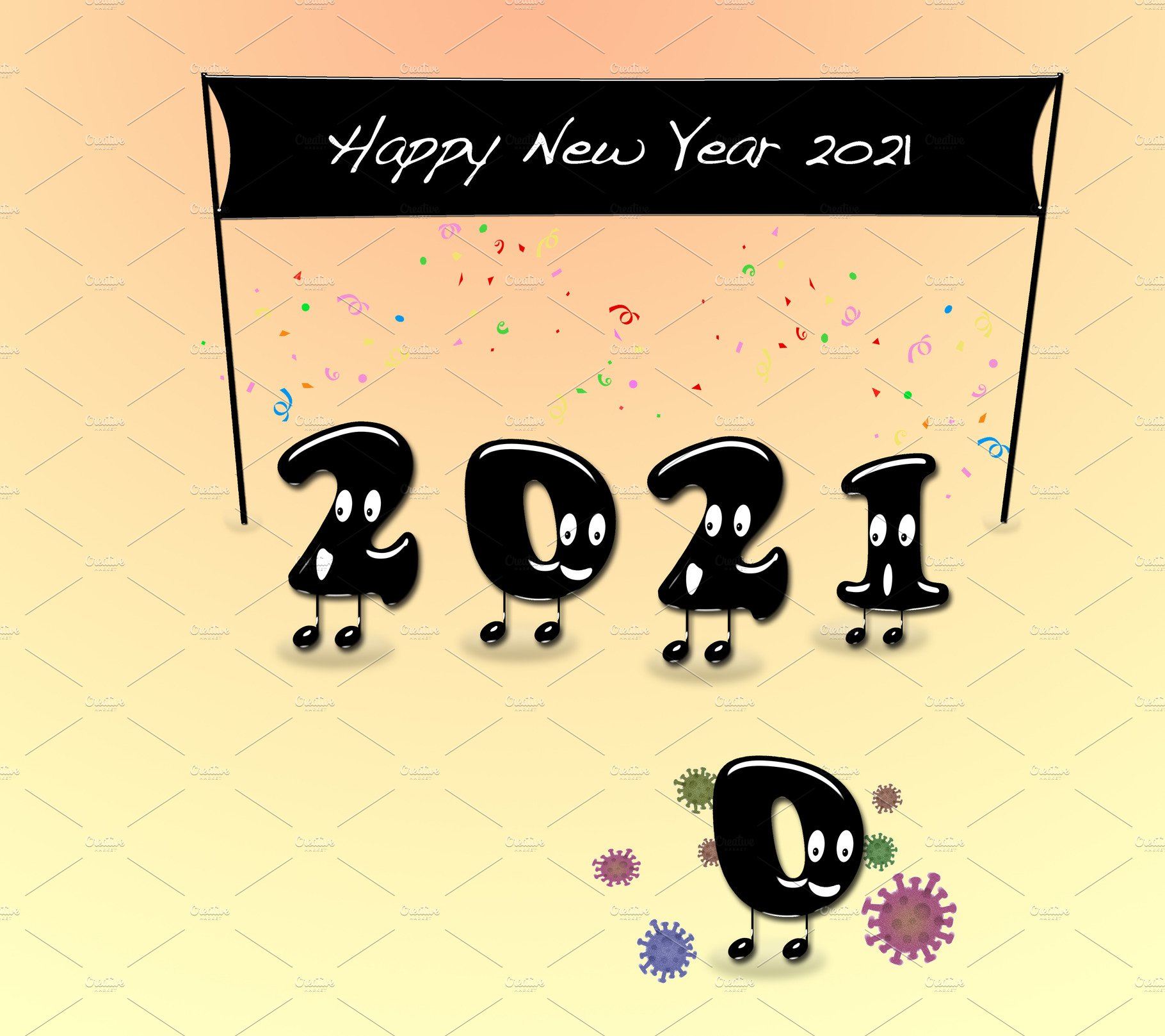 happy new year 2021 without covid19 custom designed illustrations creative market happy new year 2021 without covid19