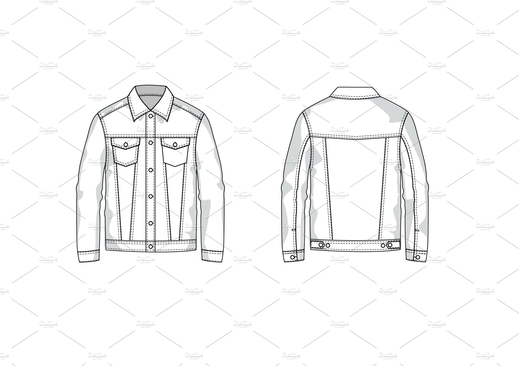 Denim Jean Jacket Flat Drawing Sketch Coloring Page