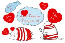 Valentine's day set with funny cats
