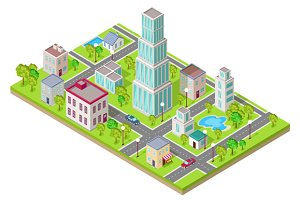 Isometric Icon of City Flat Design