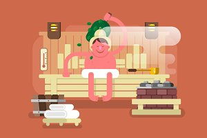 Man in the sauna steam