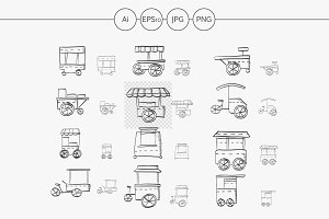 Food trolley sketch vector icons set