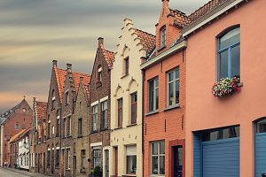 Bruges historical pitched roofs