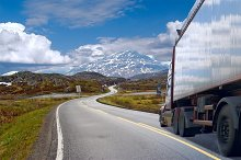 Motion of the semi-truck on mountain road.jpg