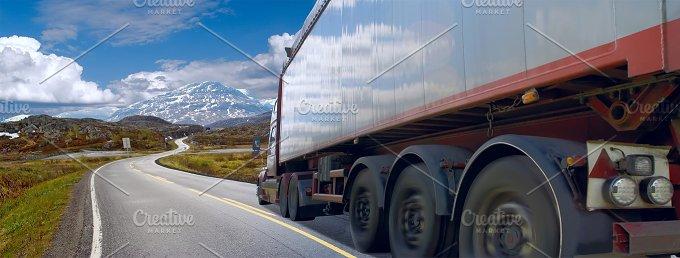 Motion of the semi-truck on mountain road.jpg - Transportation
