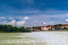 Panoramic view of German city Landsberg am Lech in sunny day.jpg