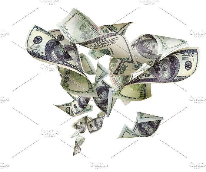 Falling dollars isolated on white background.jpg - Business