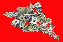 Falling dollars on red background.jpg