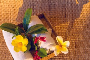 White towels with red, yelow and white flowers.jpg