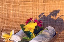 Towels with red yelow and white flowers.jpg