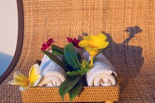 Two towels with red, yelow and white flowers.jpg
