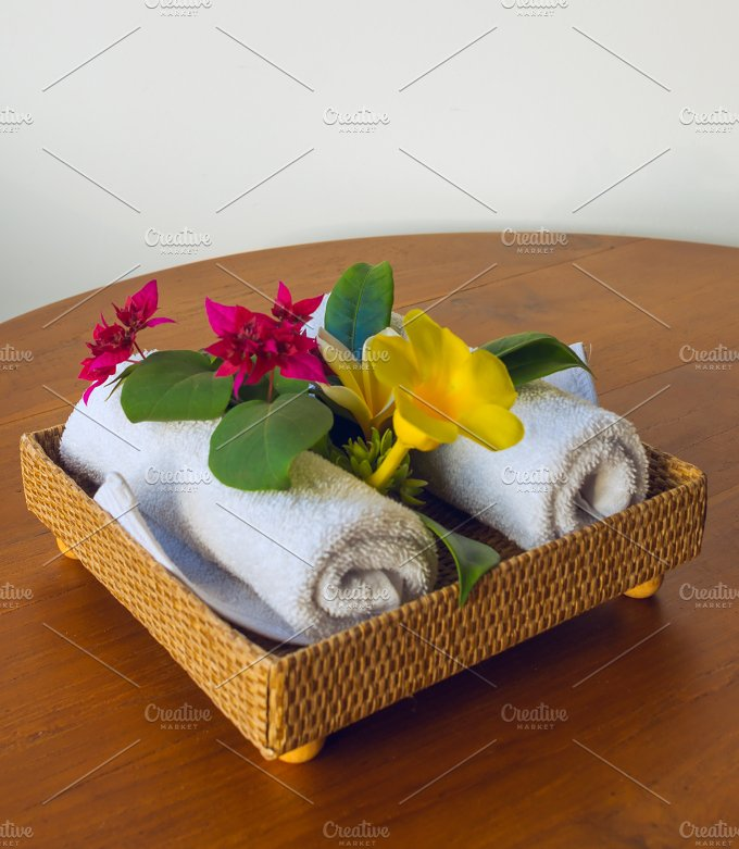 Towels with red and yelow flowers.jpg - Photos