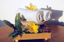 Towels and flowers frangipani.jpg