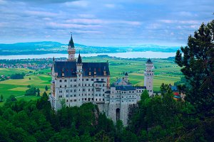 Castle Neuschwanstein in Bavarian mountains.jpg