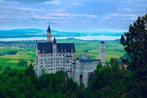 Castle Neuschwanstein in Bavarian mountains.jpg