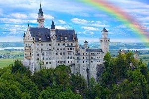 Rainbow over castle Neuschwanstein in Bavarian Alps.jpg