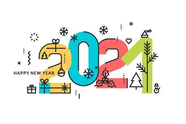 Happy New Year 2021 Greeting Card | Pre-Designed Illustrator Graphics ~  Creative Market