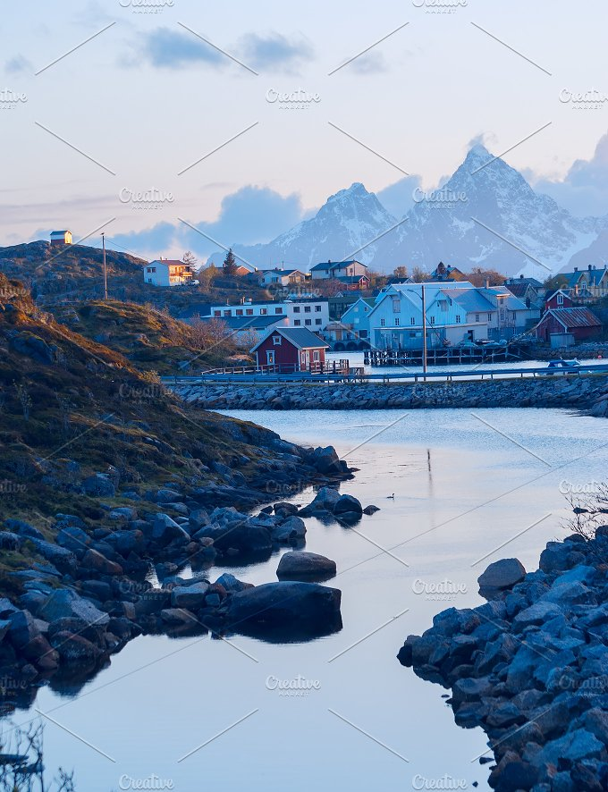 Norwegian village on the Lofoten islands in the evening.jpg - Nature