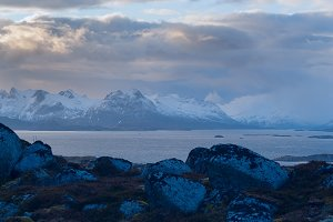 Evening view of the mountain on the island Skrova on the Lofoten.jpg