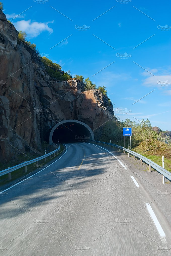 Tunnel on the Norwegian mountain road.jpg - Transportation
