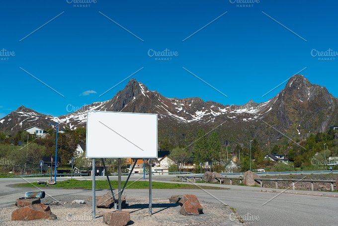 Big white bilboard on the norwegian road in sunny day.jpg - Transportation