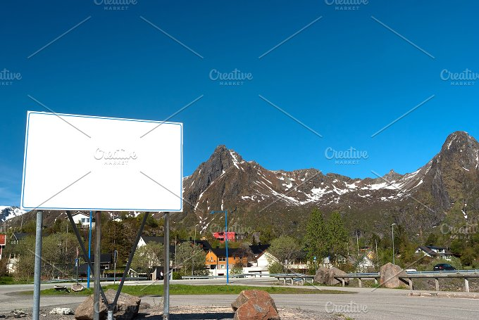 White big bilboard on the norwegian road in sunny day.jpg - Transportation