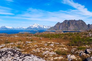 Landscape of norwegian island Skrova on Lofoten in sunny day.jpg
